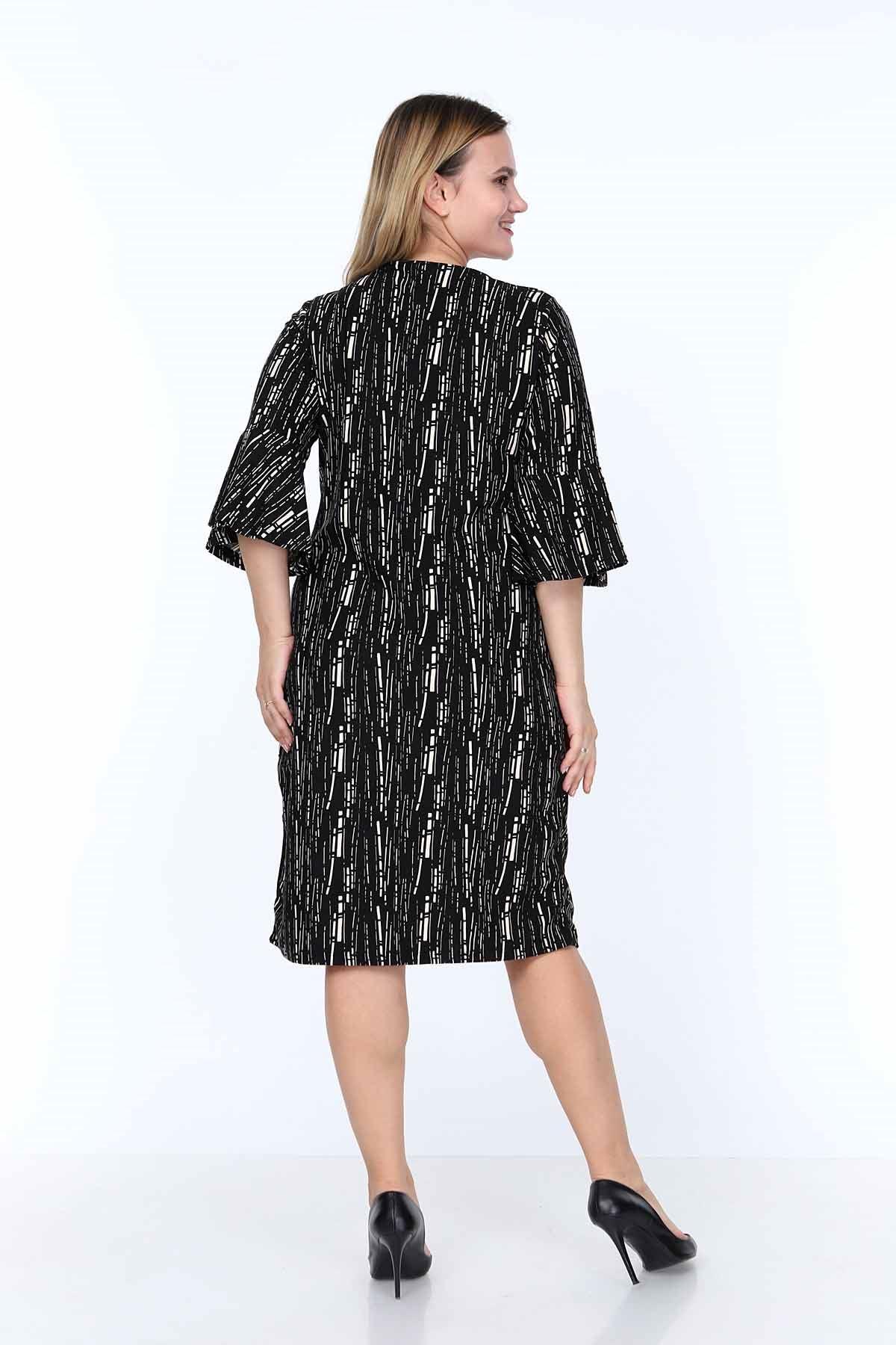 Kruvaze Yaka Desenli Elbise 6F-0821