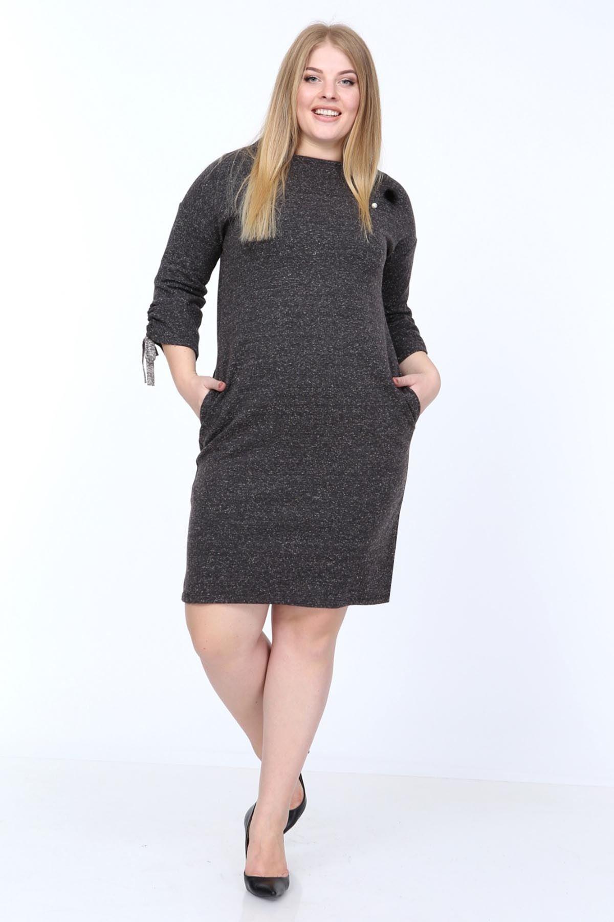Kol Bağcıklı Büyük Beden Elbise 8F-0809