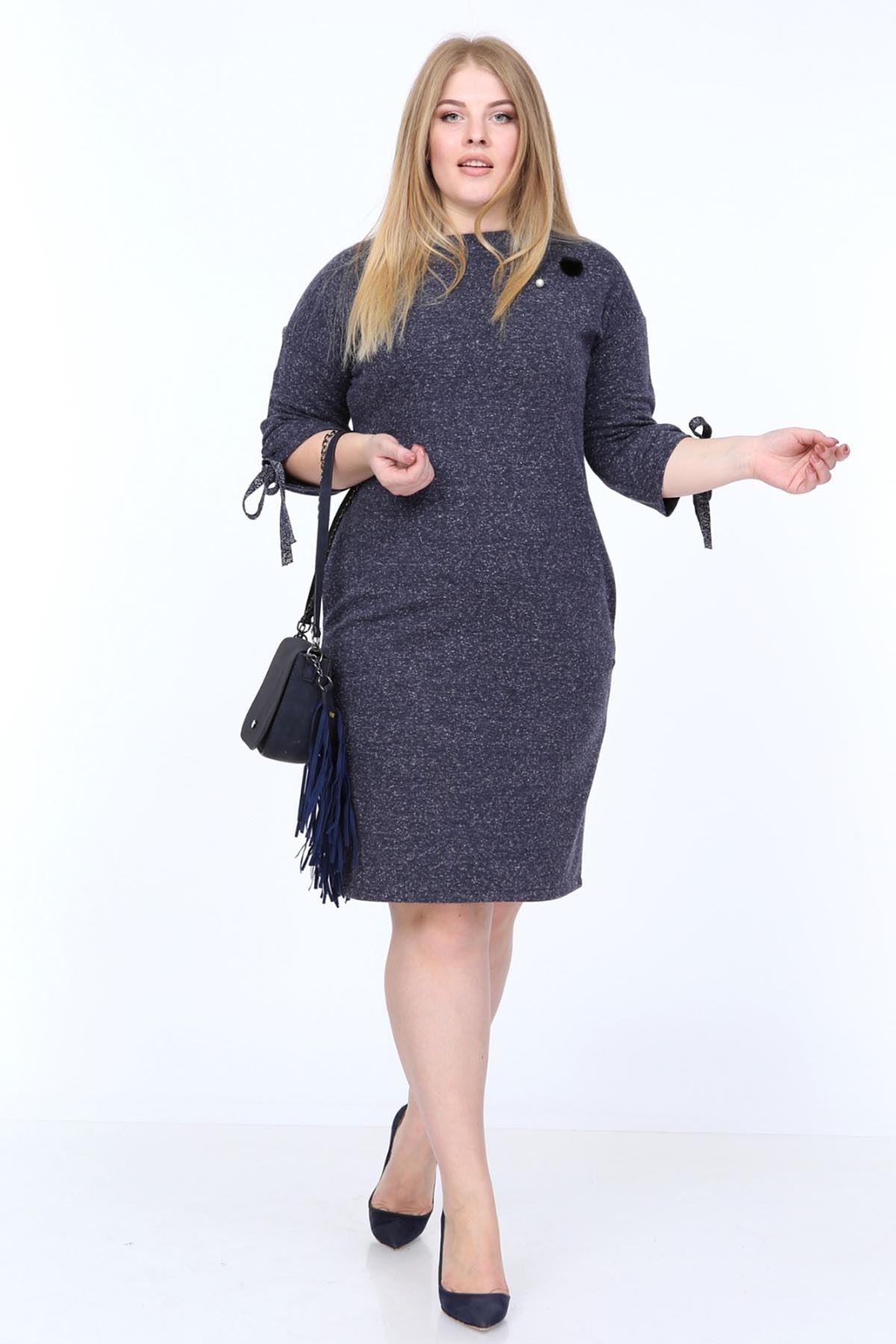 Lacivert Kol Bağcıklı Büyük Beden Elbise 19D-0807