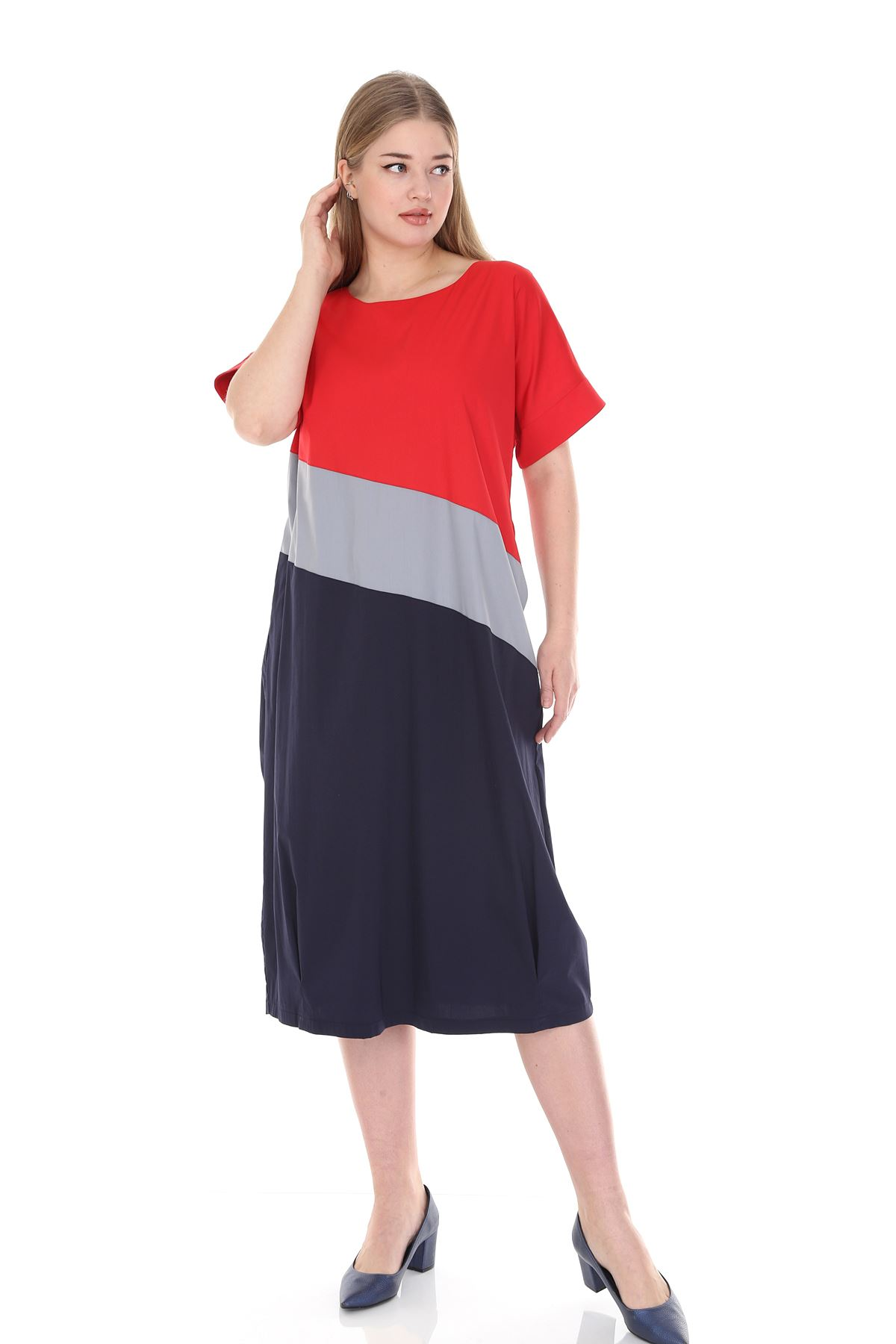 Kırmızı Lacivert Büyük Beden Elbise 17C-0836