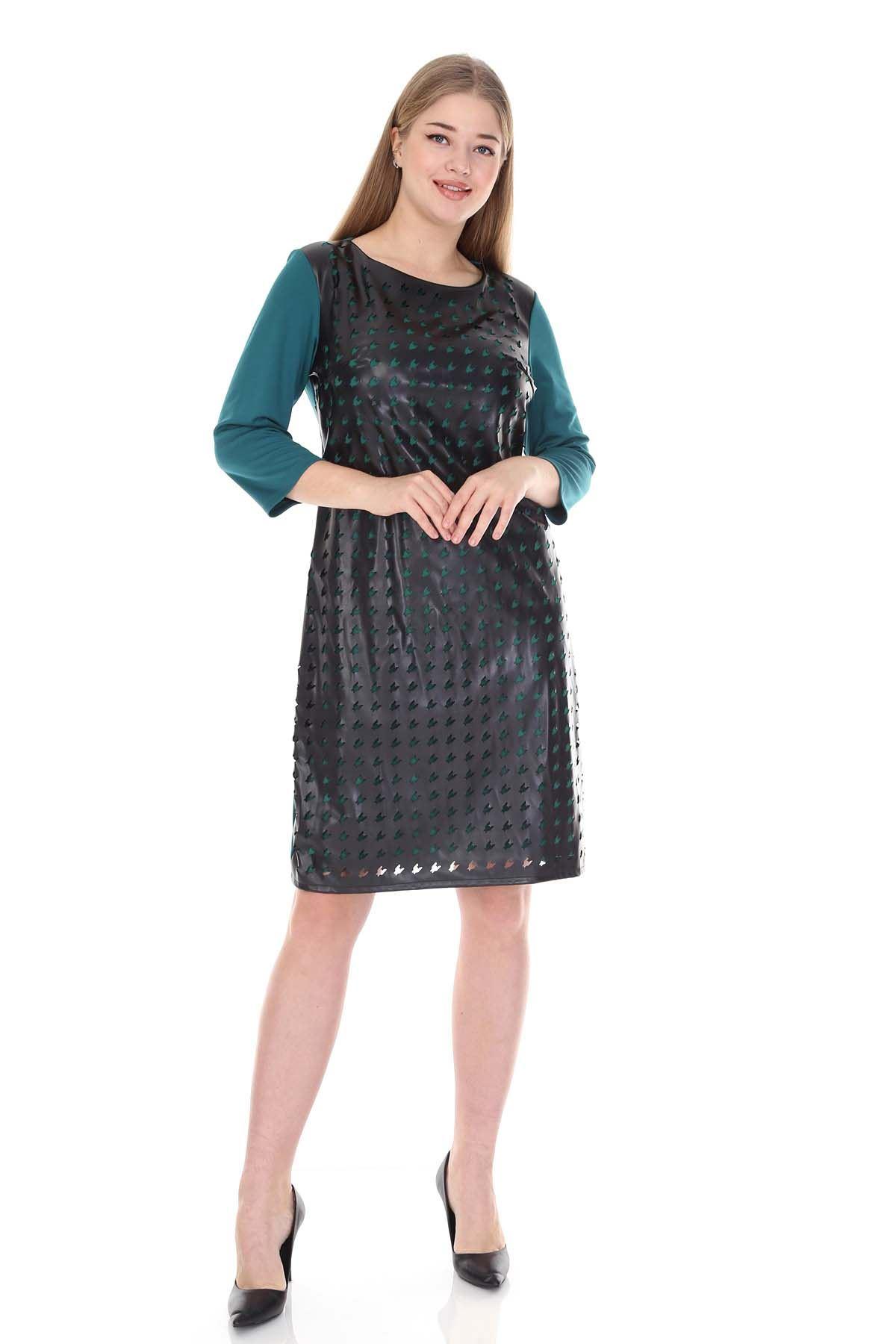 Derili Yeşil Büyük Beden Elbise 17C-0835