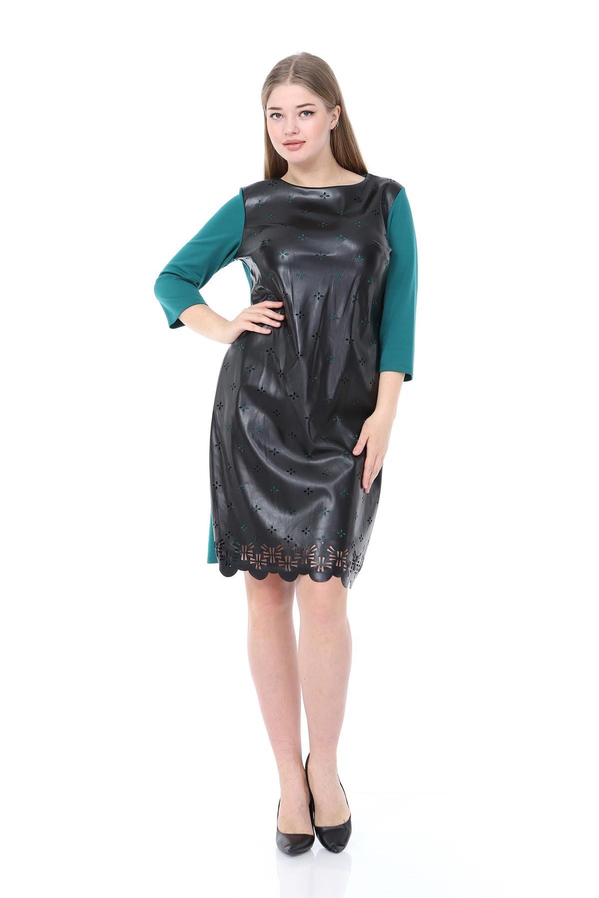 Yeşil Derili Oyma Büyük Beden Elbise 17E-0833