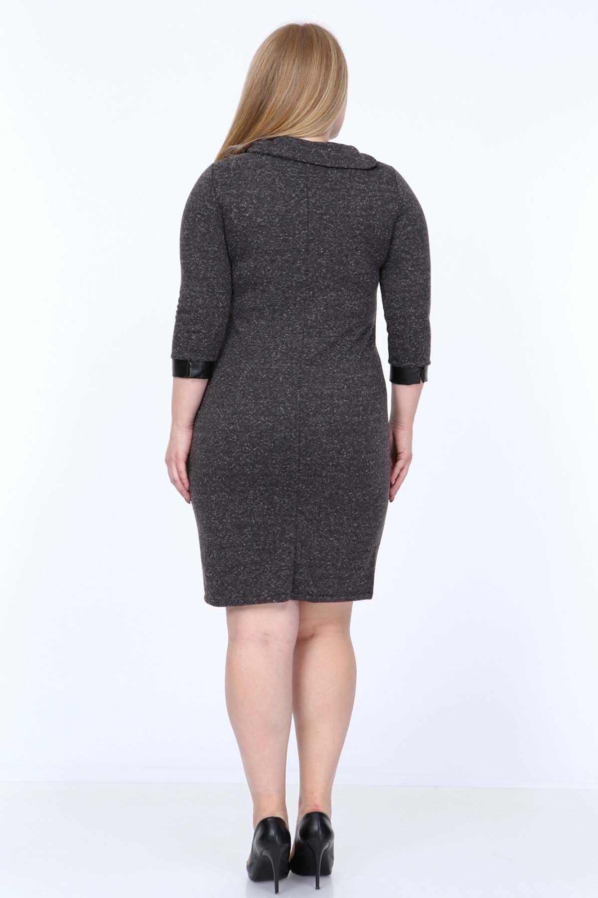 Antrasit Taşlı Derili Büyük Beden Elbise 20Y-0822