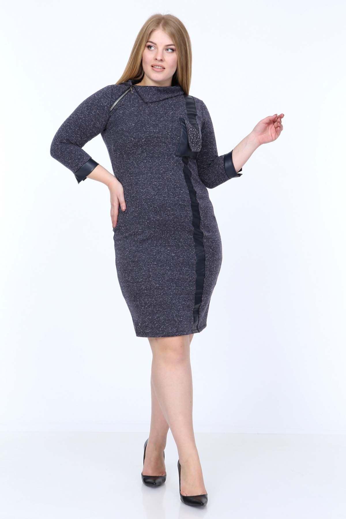 Lacivert Taşlı Derili Büyük Beden Elbise 20Y-0825