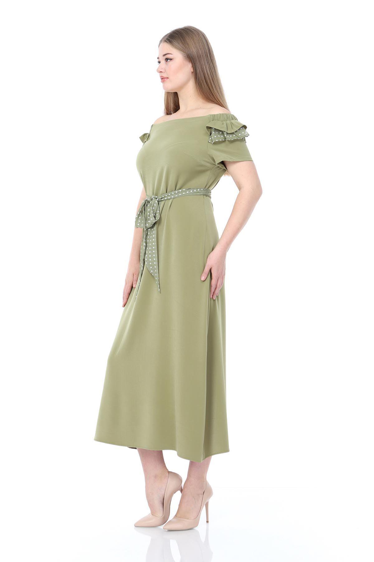 Puantiyeli Şifon Büyük Beden Elbise 17E-0831