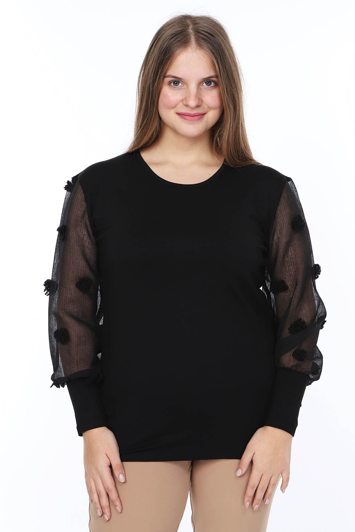 Ponpon Kol Büyük Beden Bluz 18D-0849