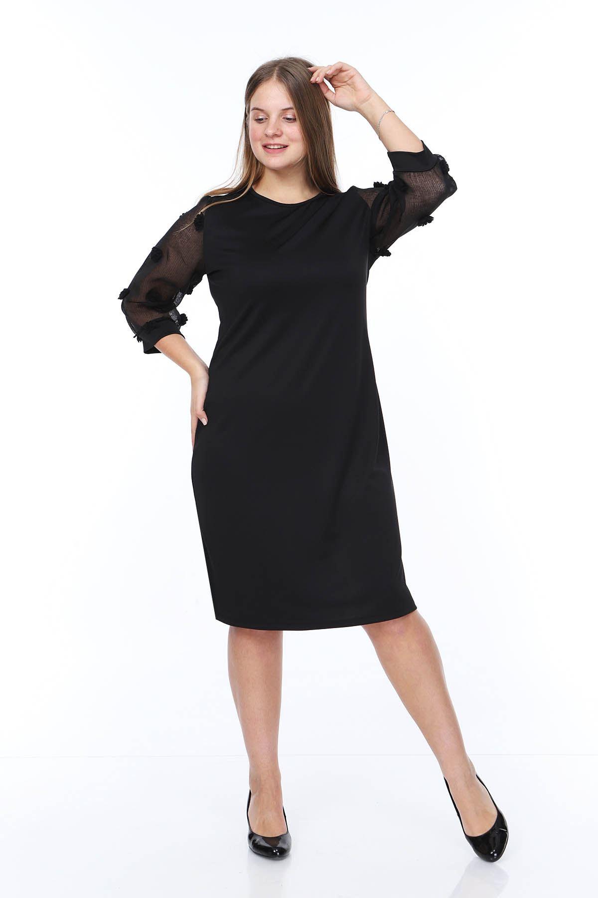 Ponpon Kol Büyük Beden Elbise 20A-0845