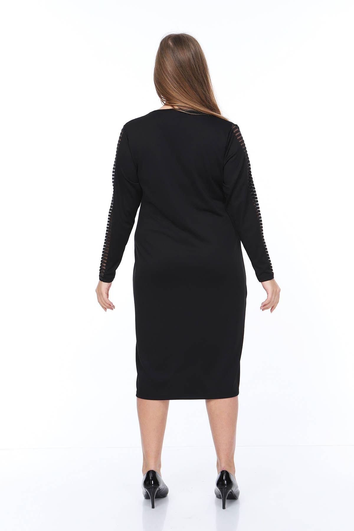 Yaka Kol Şeritli Büyük Beden Elbise 6C-0865
