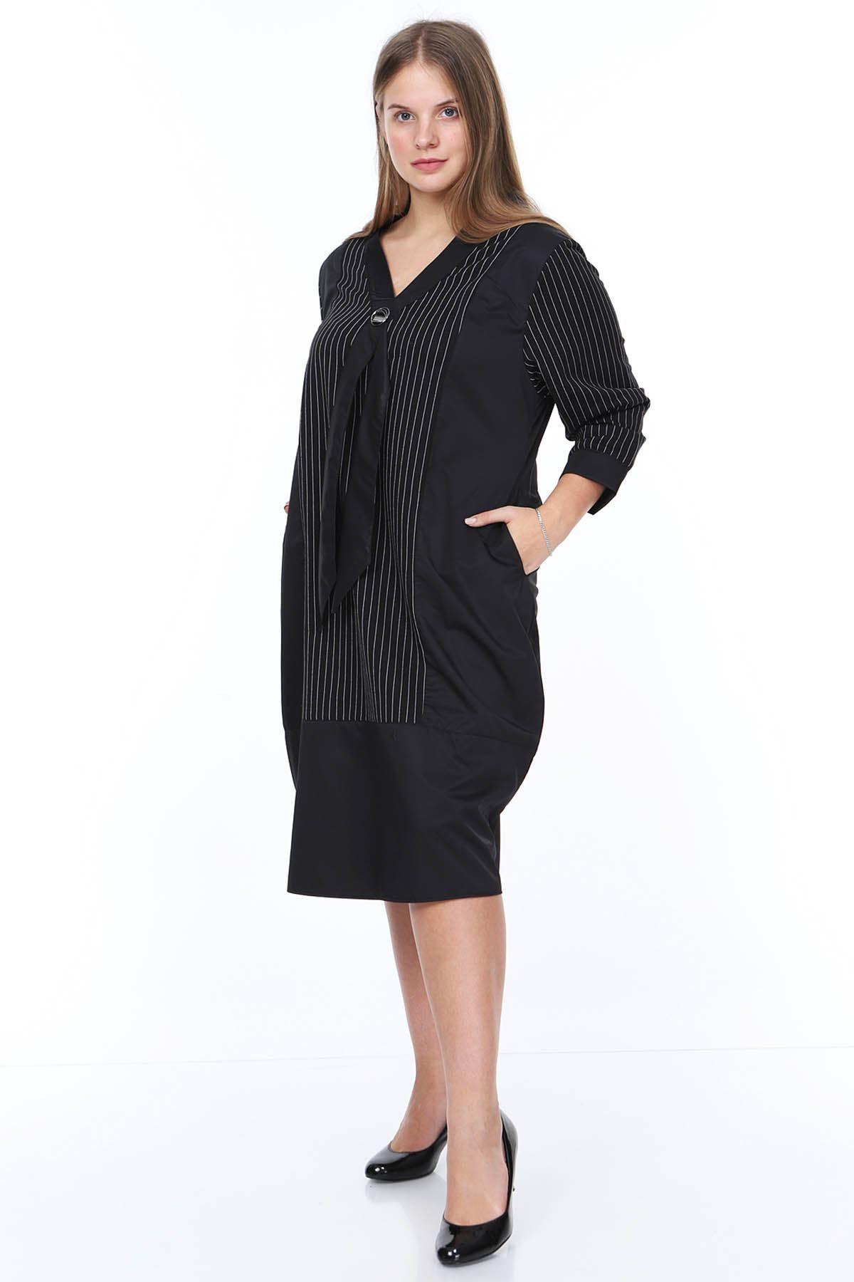 Siyah Çizgili Büyük Beden Elbise 20Y-0876