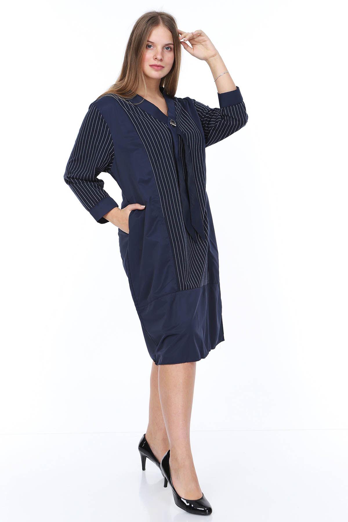 Lacivert Çizgili Büyük Beden Elbise 14C-0875