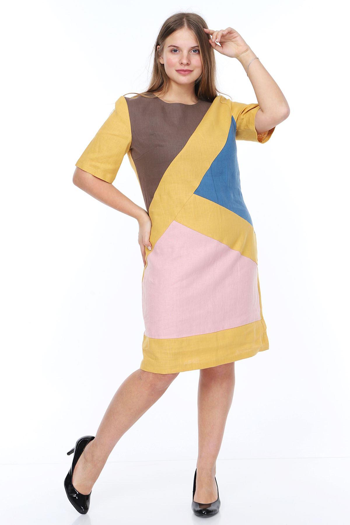 Hardal Keten Büyük Beden Elbise 14C-0874