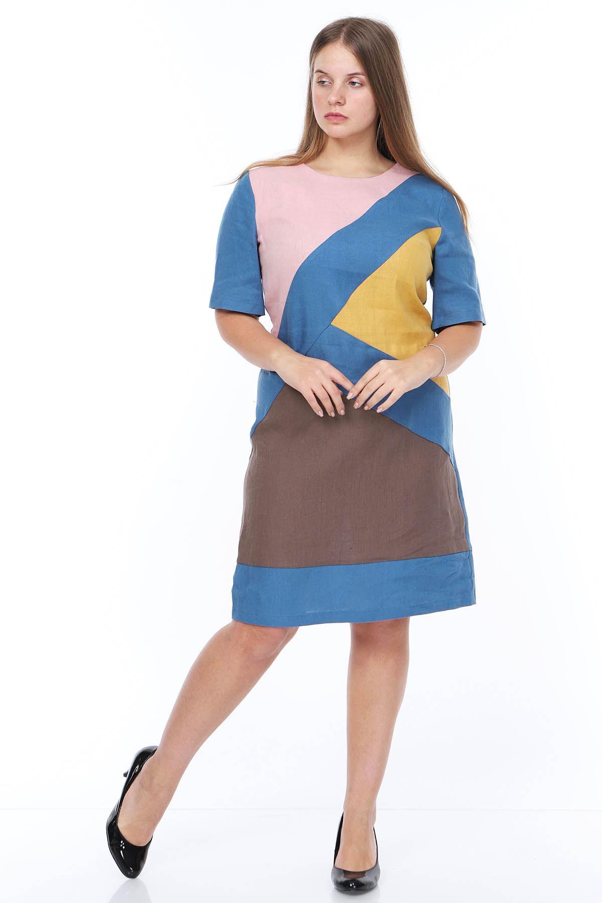 Mavi Keten Büyük Beden Elbise 14B-0871