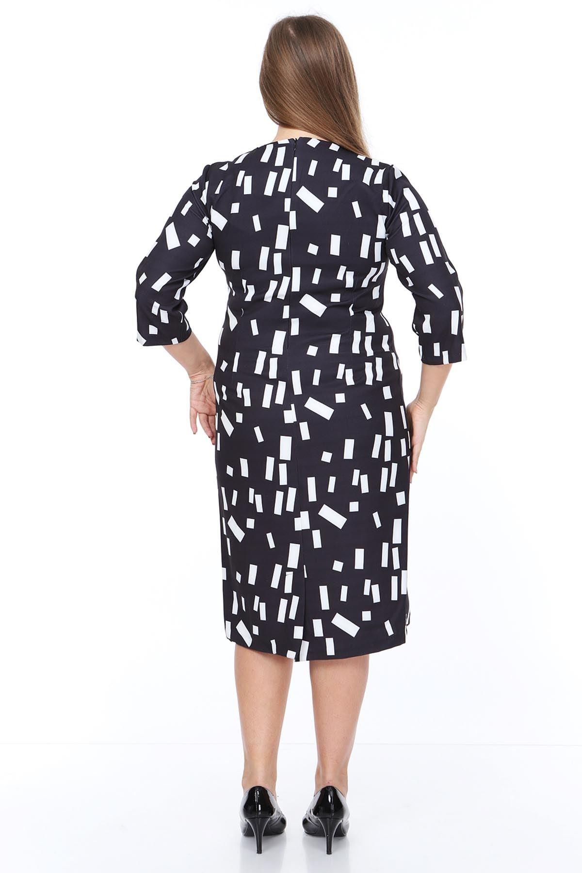 Desenli Siyah Elbise 21E-0883