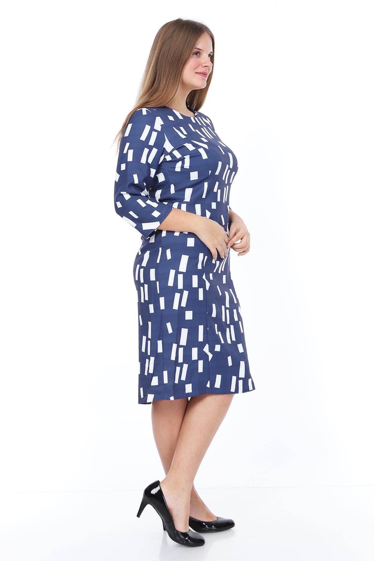 Dikdörtgen Desenli Elbise 12D-0885