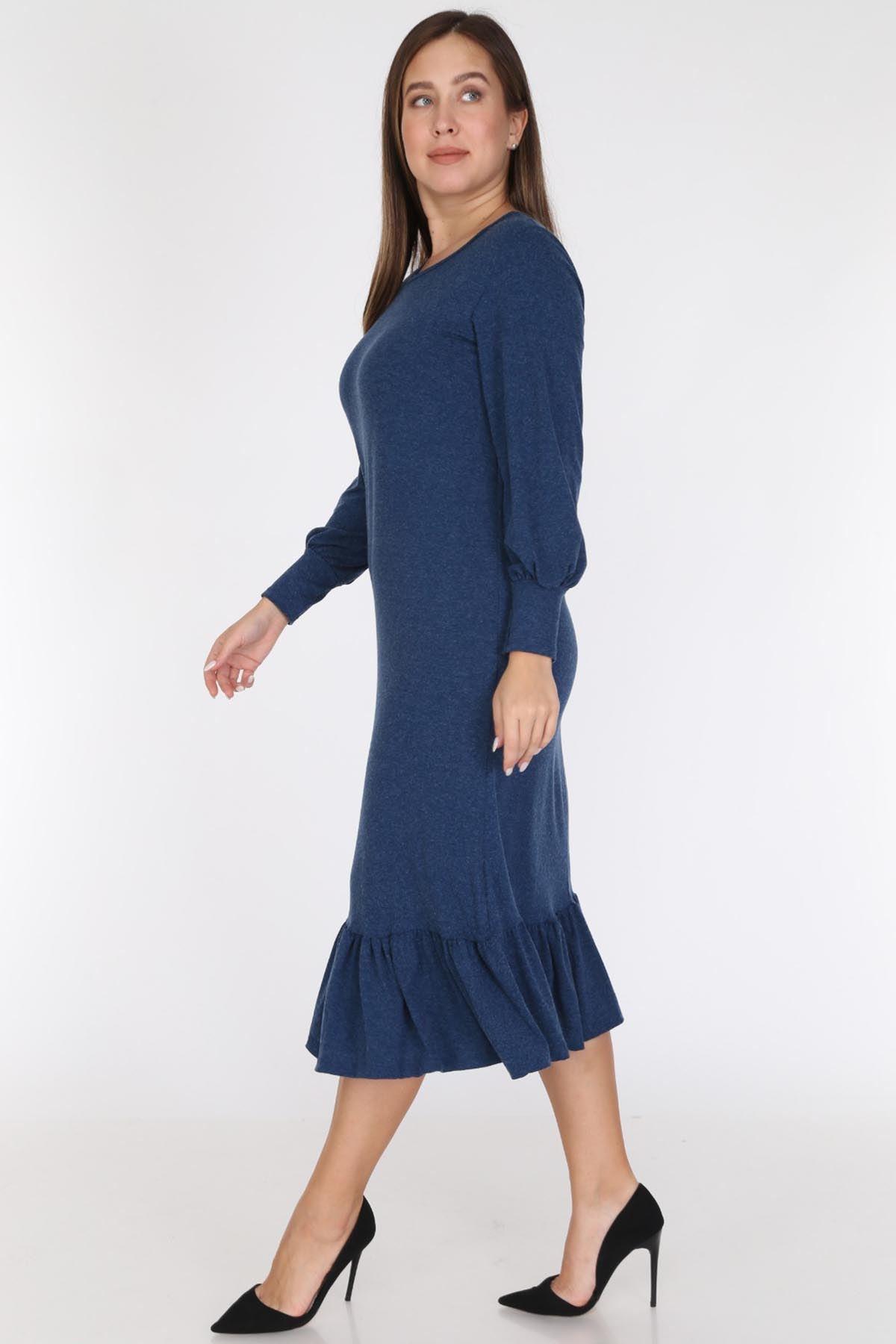 Eteği Fırfırlı Büyük Beden Elbise 19C-0784