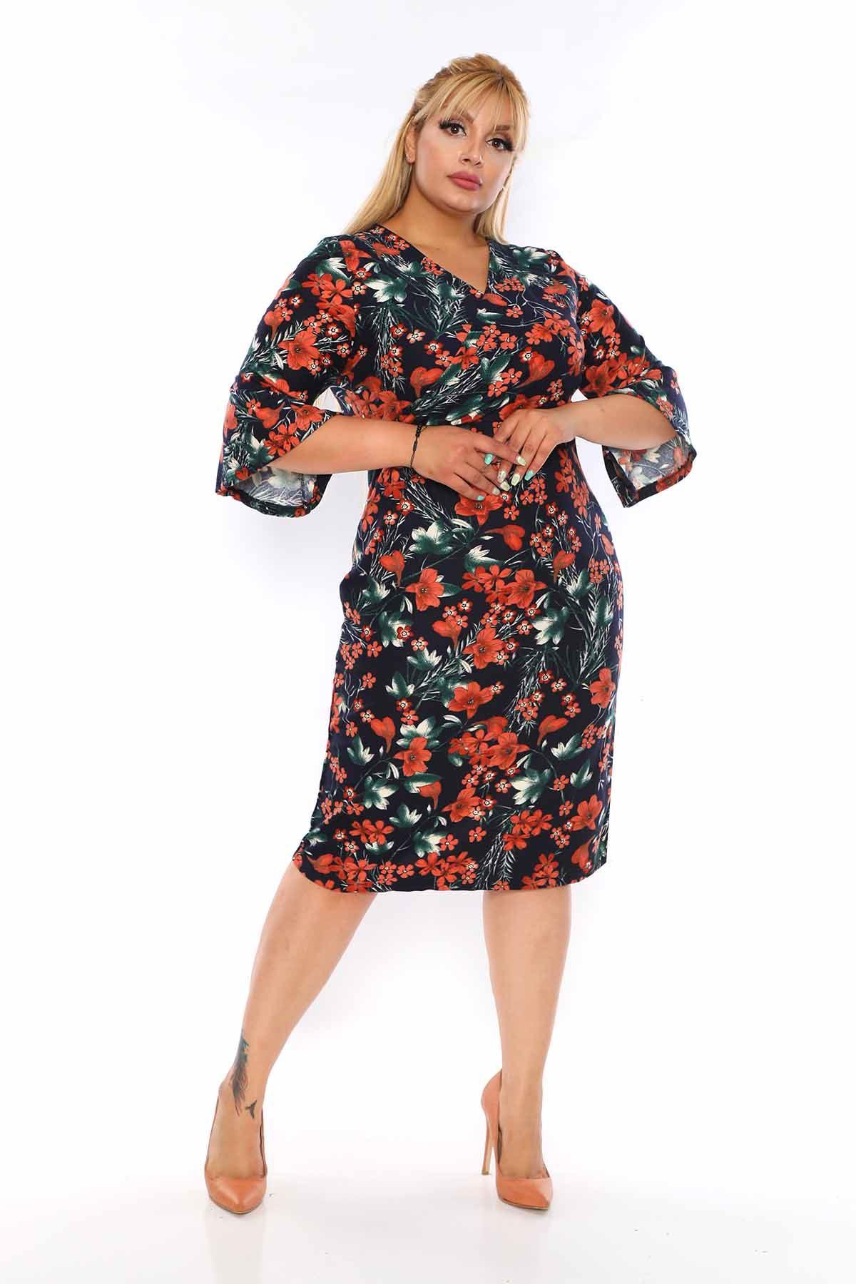 Kruvaze Yaka Çiçekli Elbise 2A-0746