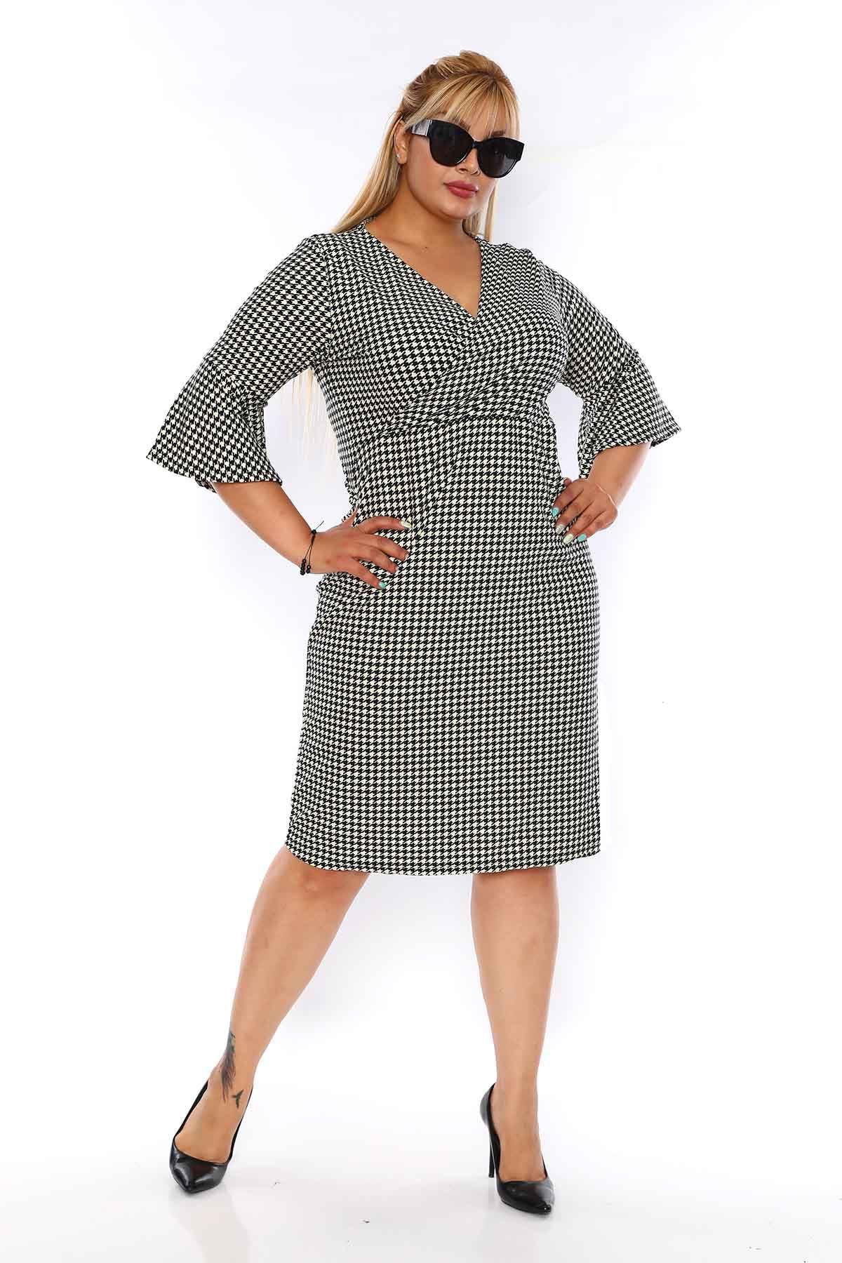 Kazayağı Desenli Büyük Beden Elbise 3D-0756
