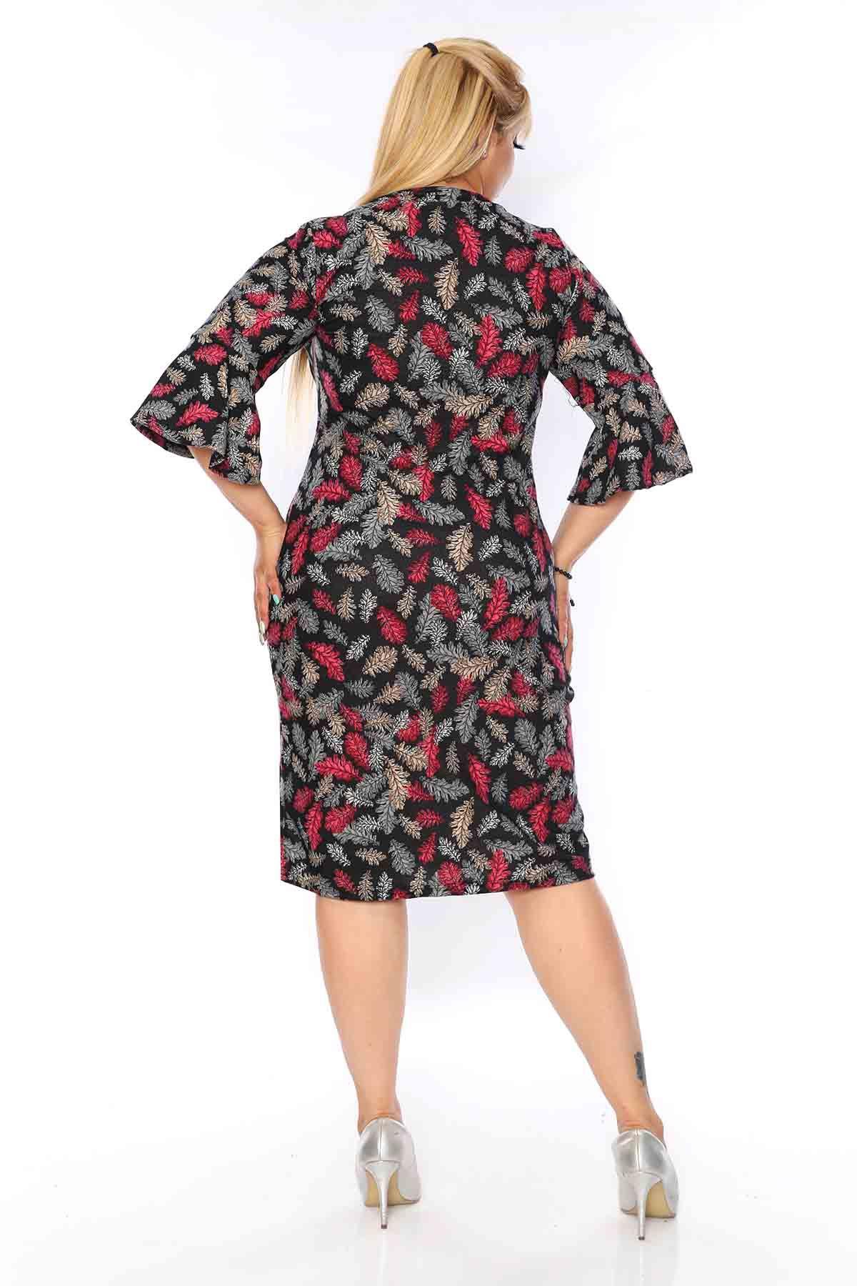 Kruvaze Yaka Yaprak Desen Elbise 4A-0735