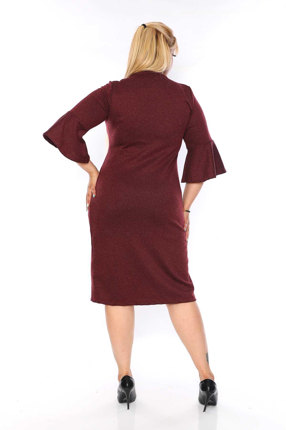 Kruvaze Yaka Bordo Büyük Beden Elbise 2C-0754