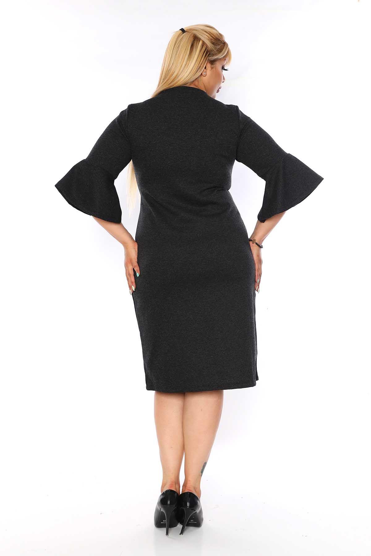 Kruvaze Yaka Büyük Beden Elbise 4D-0752