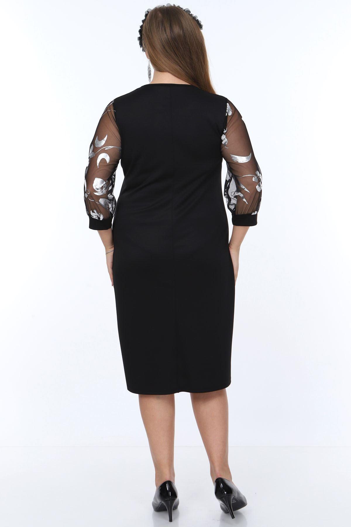 Gümüş Çiçek Kol Büyük Beden Elbise 7D-0899