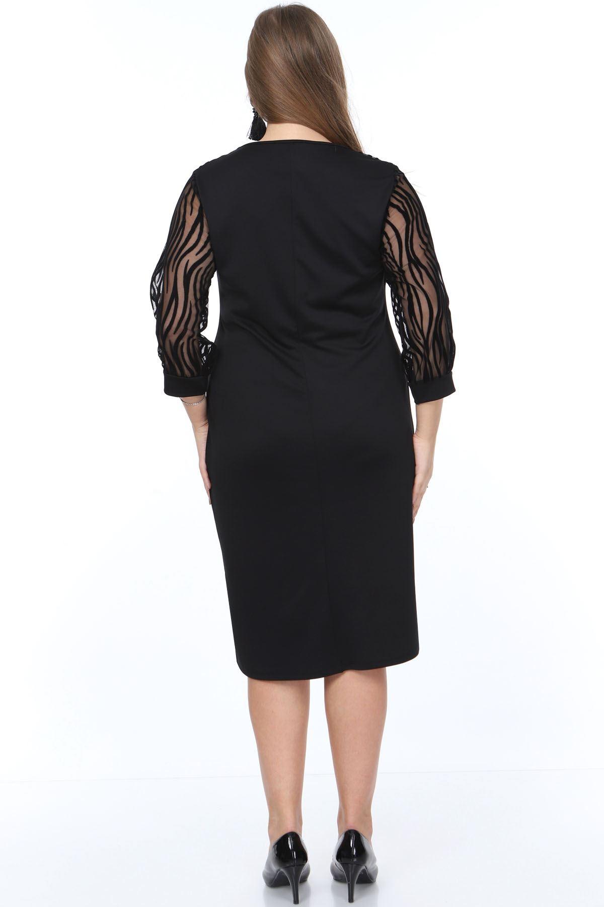 Zebra Desen Flok Büyük Beden Elbise 15B-0896
