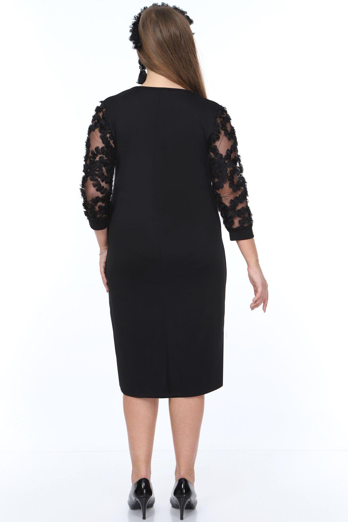 Kolları Tül Fırfır Büyük Beden Elbise 20Y-0897