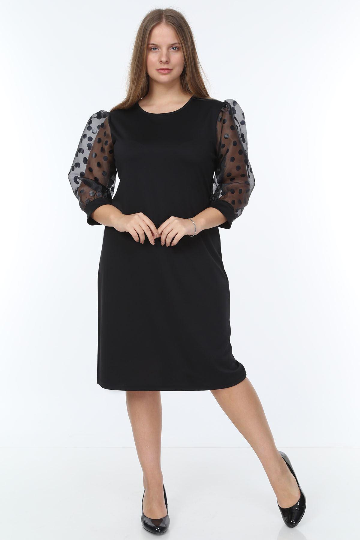 Organze Puanlı Kol Büyük Beden Elbise 23E-0933