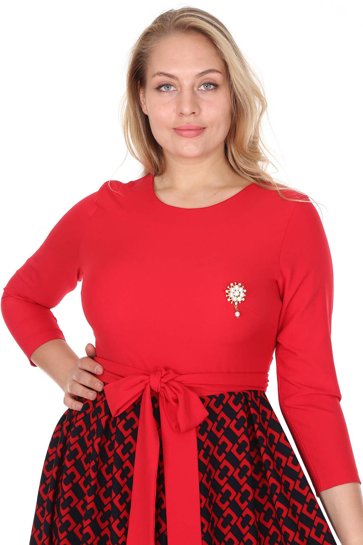 Kırmızı Kloş Büyü Beden Elbise 25A-0941