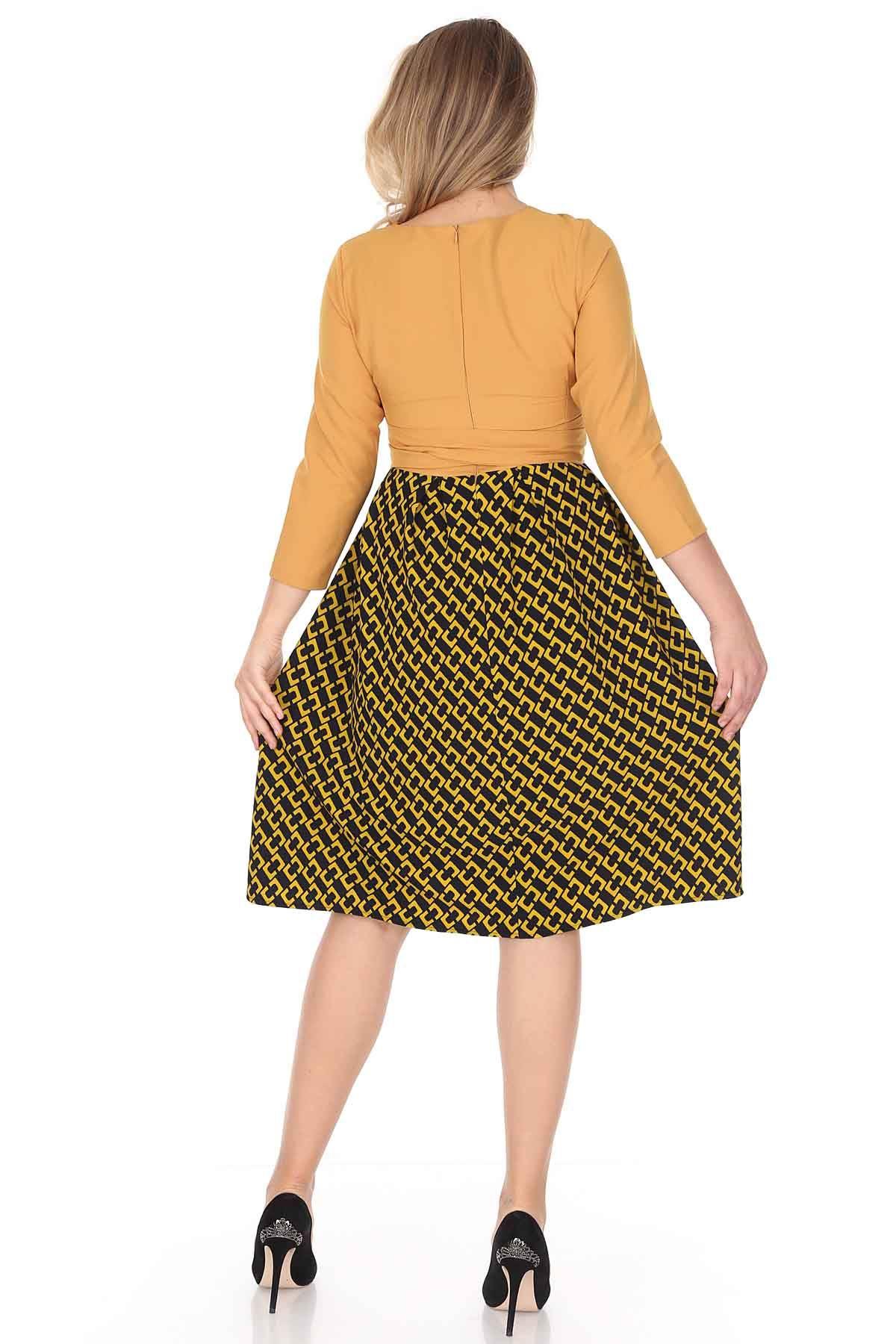 Eteği Kloş Büyük Beden Elbise 25A-0942
