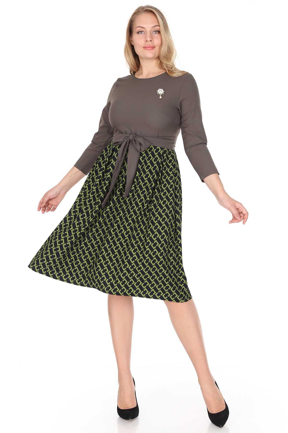 Yeşil Kloş Büyük Beden Elbise 25B-0943