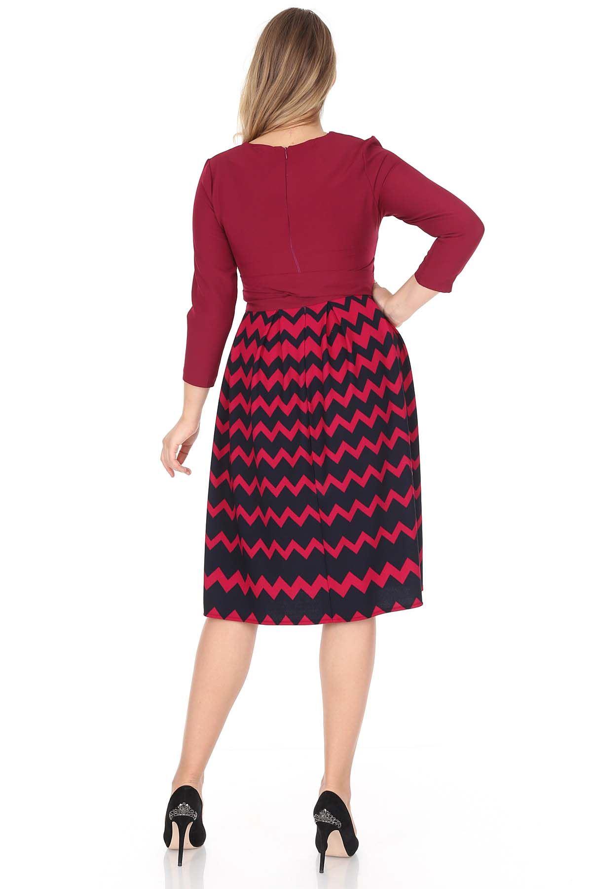 Zigzag Desen Kloş Büyük Beden Elbise 20C-0945