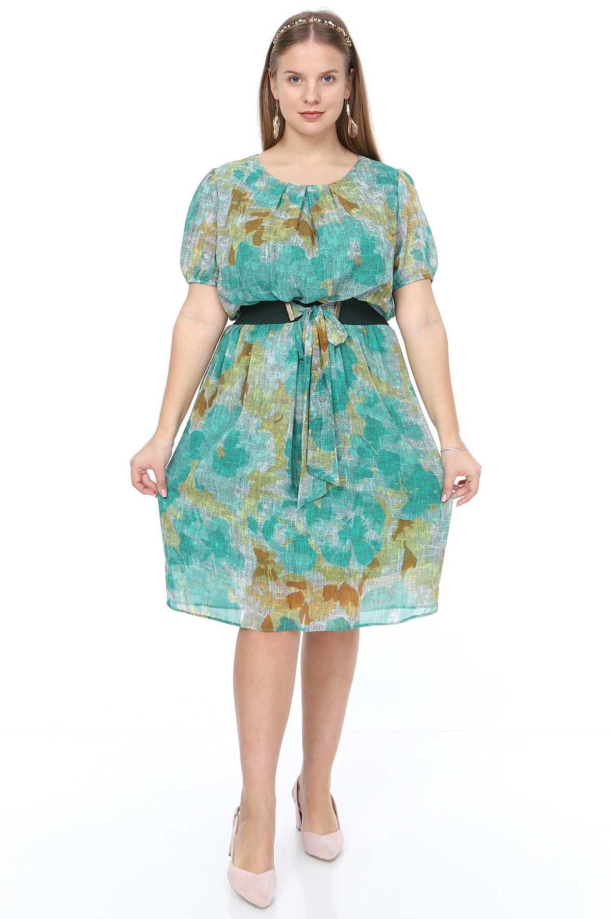 Yeşil Şifon Elbise 7C-0908