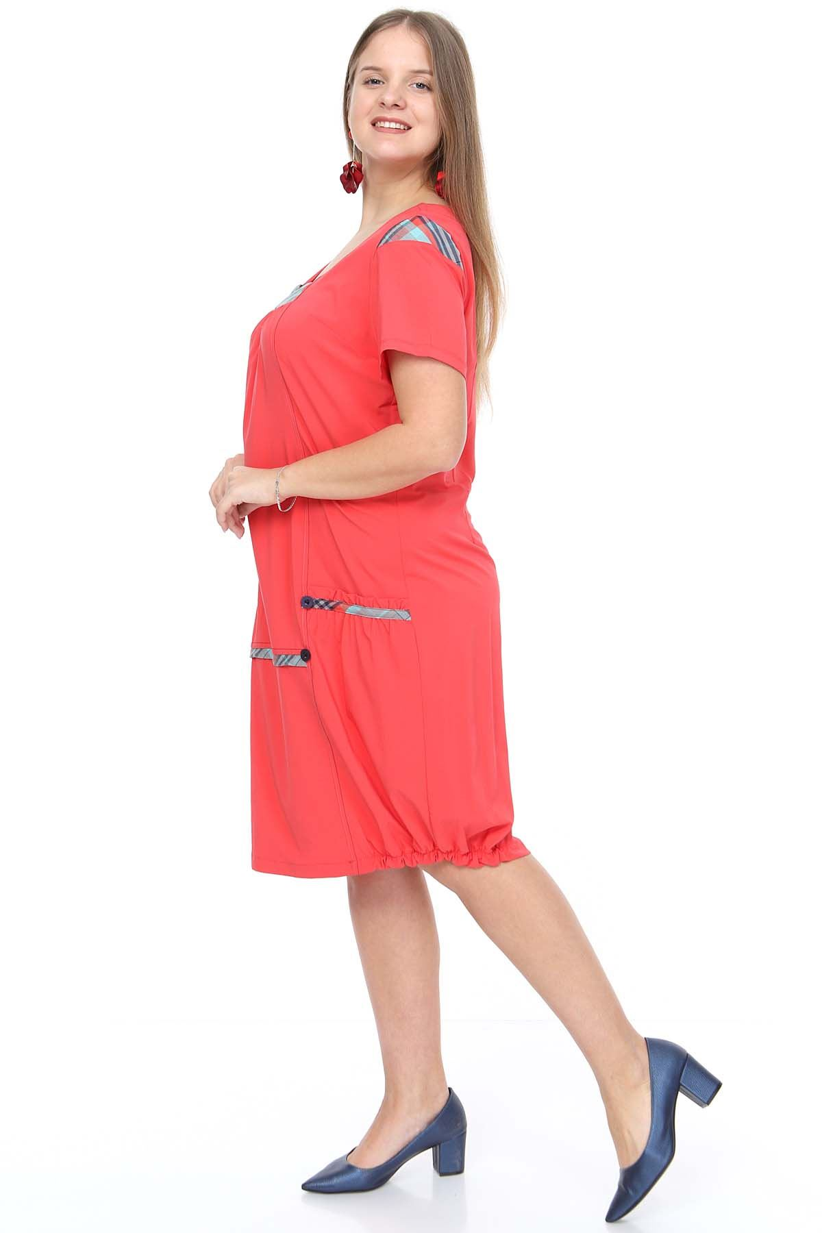Yazlık Büyük Beden Elbise Garnili Mercan 5F-0906
