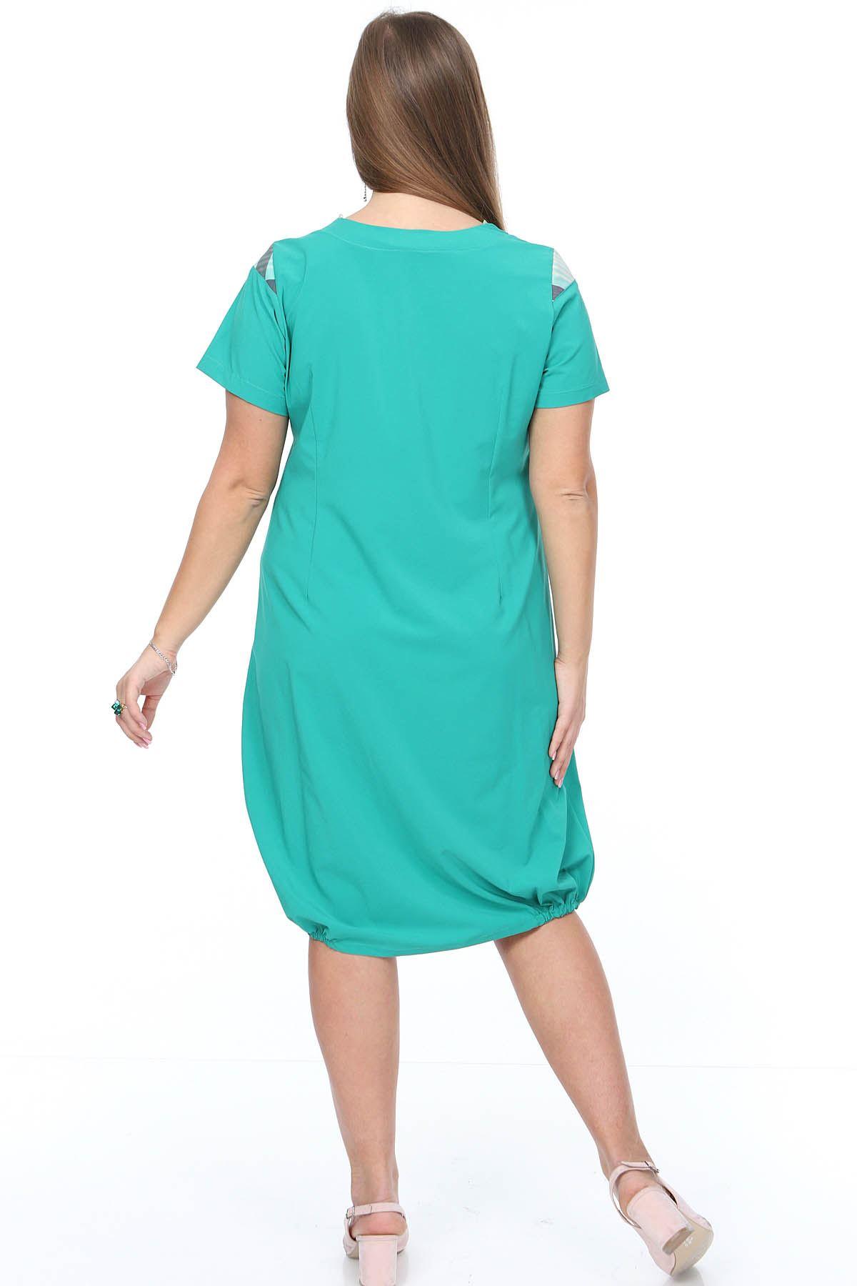 Yazlık Garnili Yeşil Büyük Beden Elbise 14F-0889