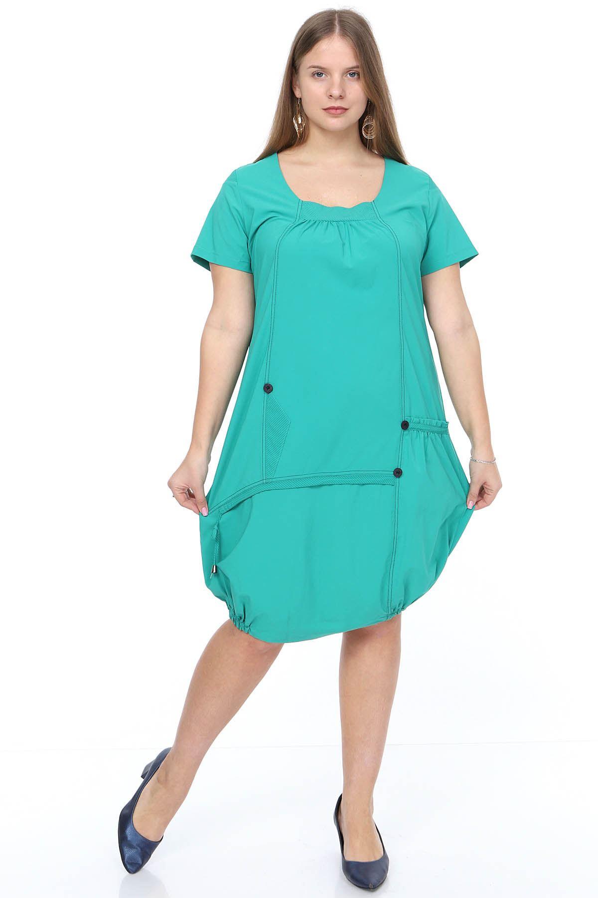 Yazlık Yeşil Büyük Beden Elbise 18A-0922