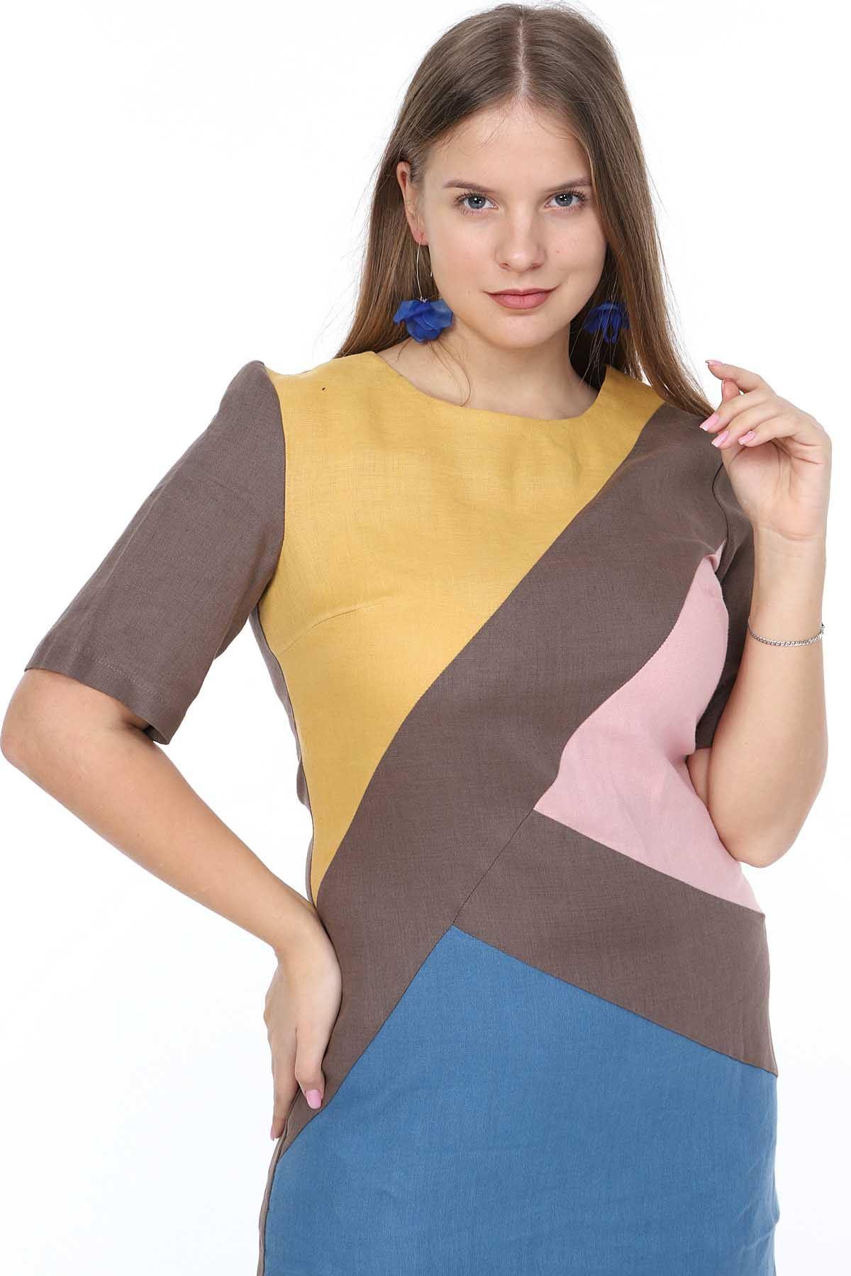 Kahverengi Keten Büyük Beden Elbise 14B-0873