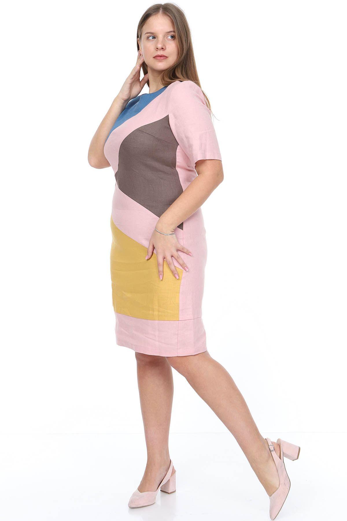 Pembe Keten Elbise 21D-0872