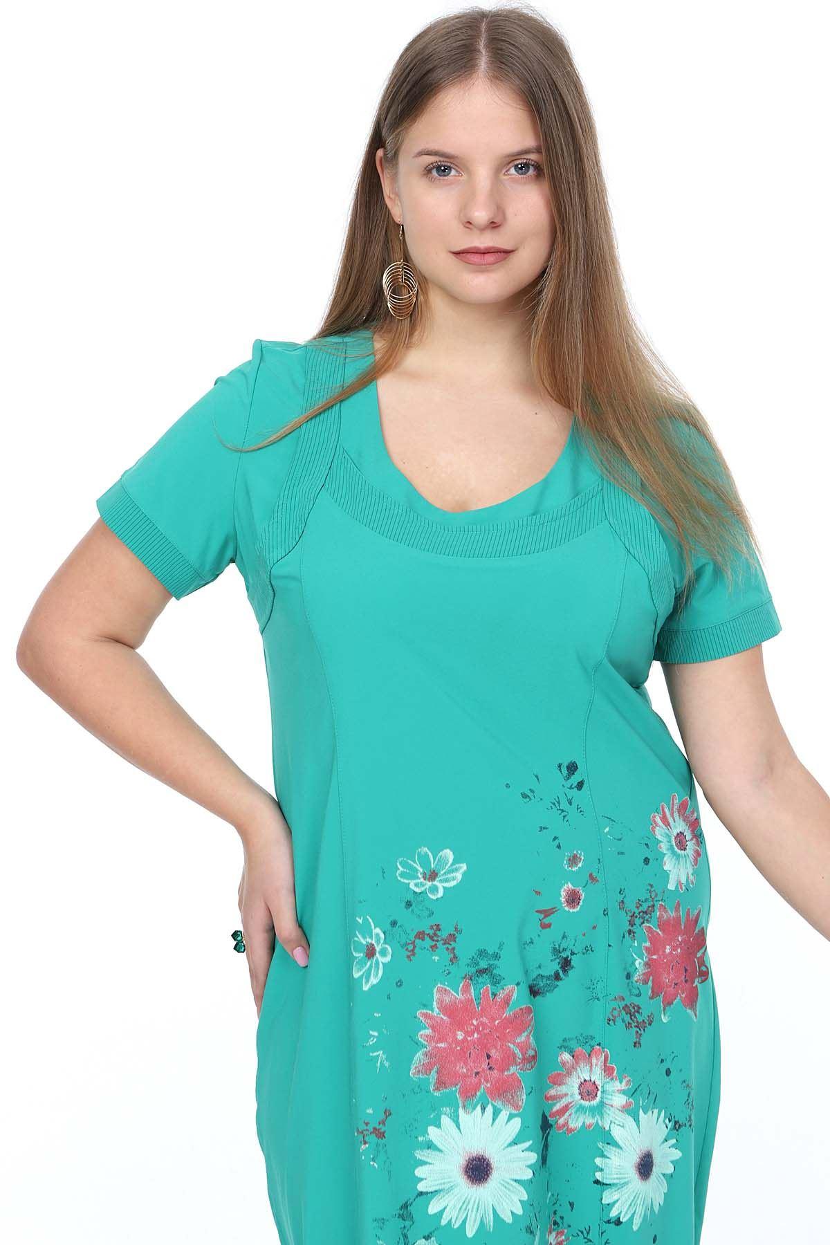 Yazlık Yeşil Baskılı Büyük Beden Elbise 24E-0912