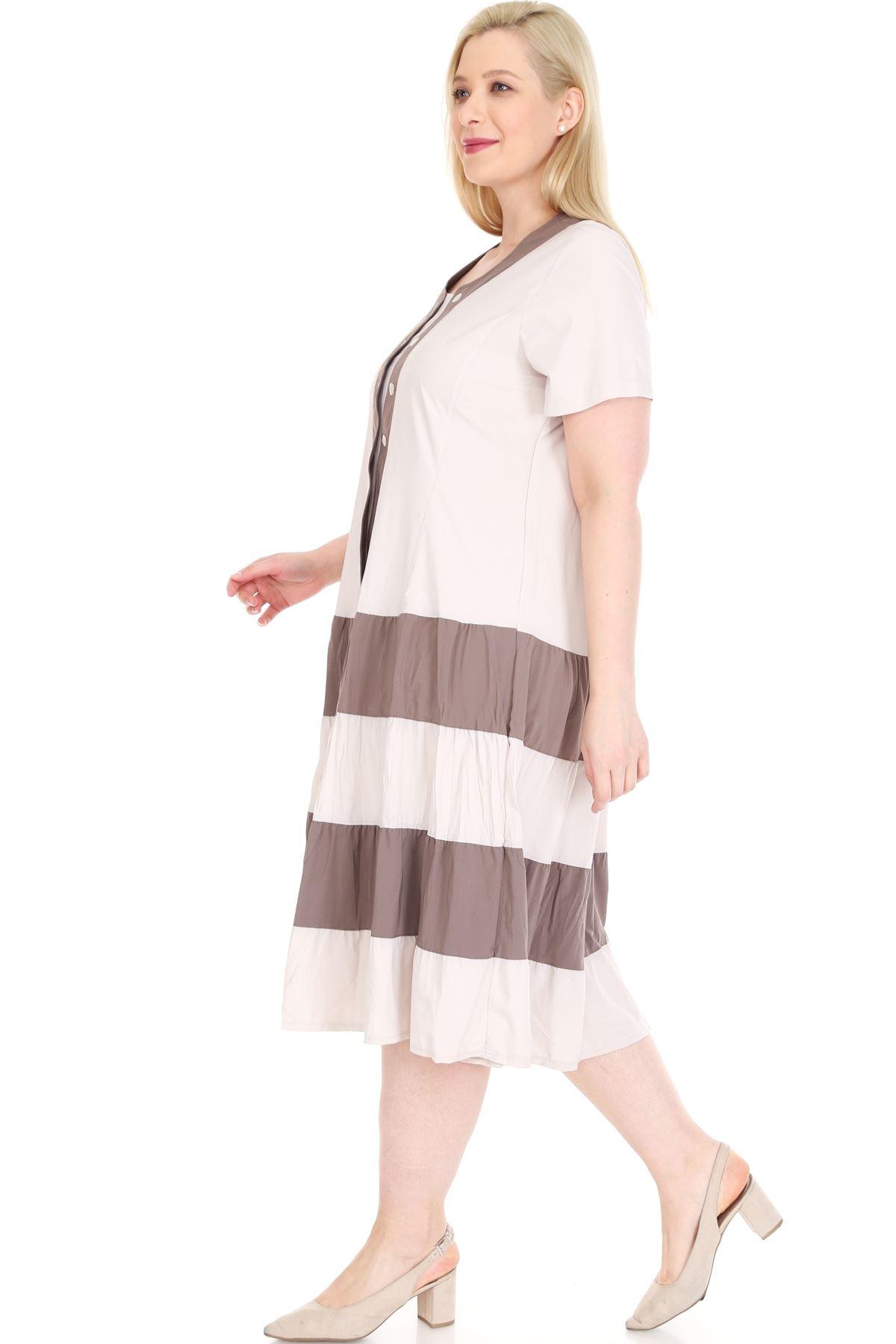 Eteği Kloş Bej Büyük Beden Elbise 15D-0878