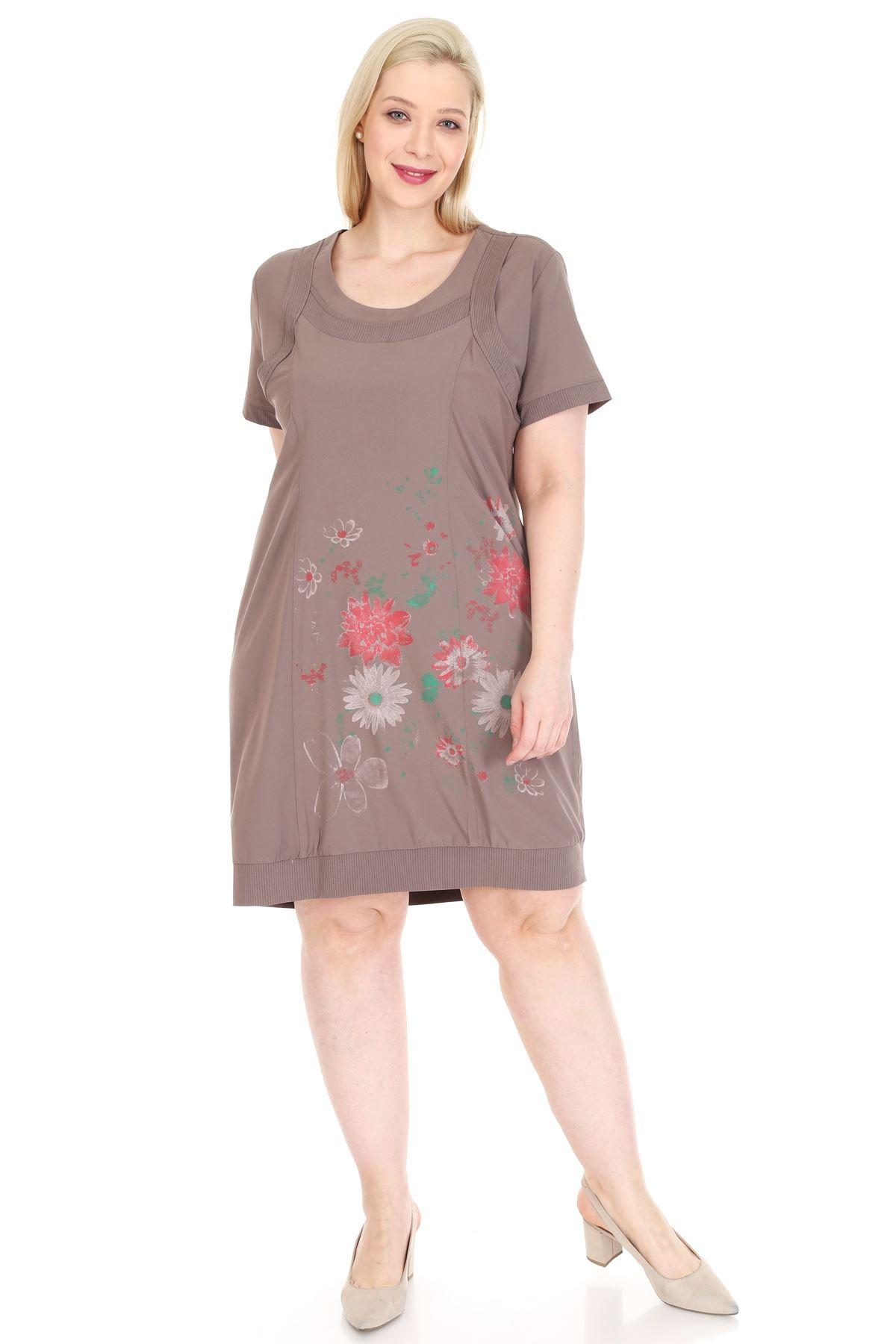 Baskılı Vizon Büyük Beden Elbise 20Y-0916