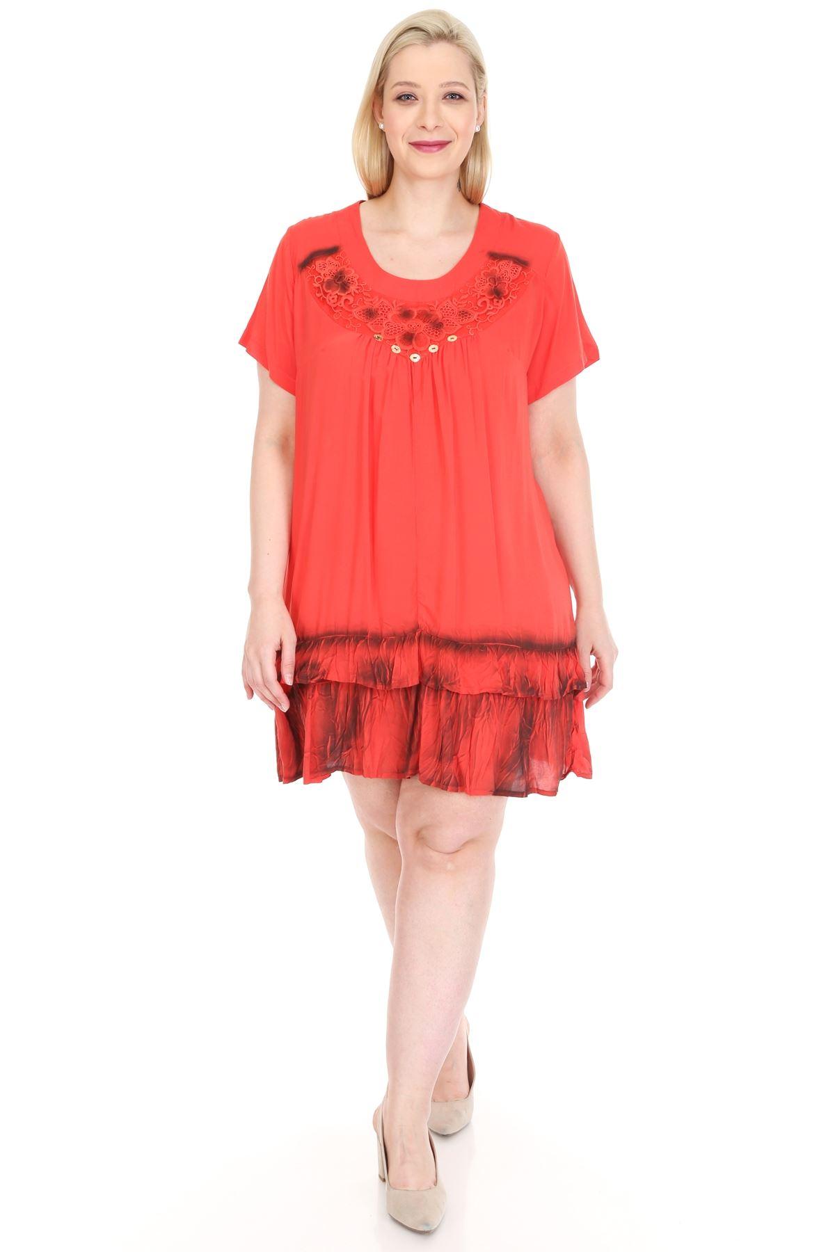 Mercan Gipürlü Tunik Büyük Beden Elbise 20Y-0926