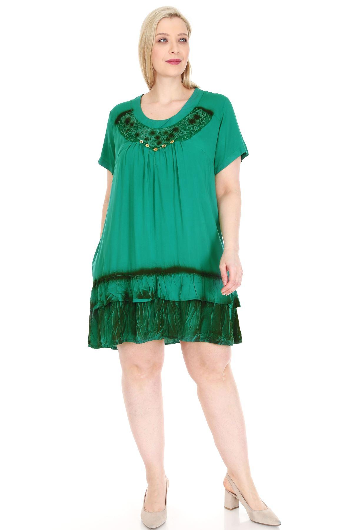 Yeşil Gipürlü Tunik Büyük Beden Elbise 20Y-0923