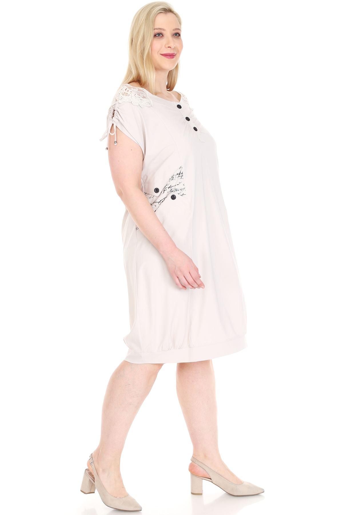 Gipürlü Bej Battal Beden Elbise 1D-0928