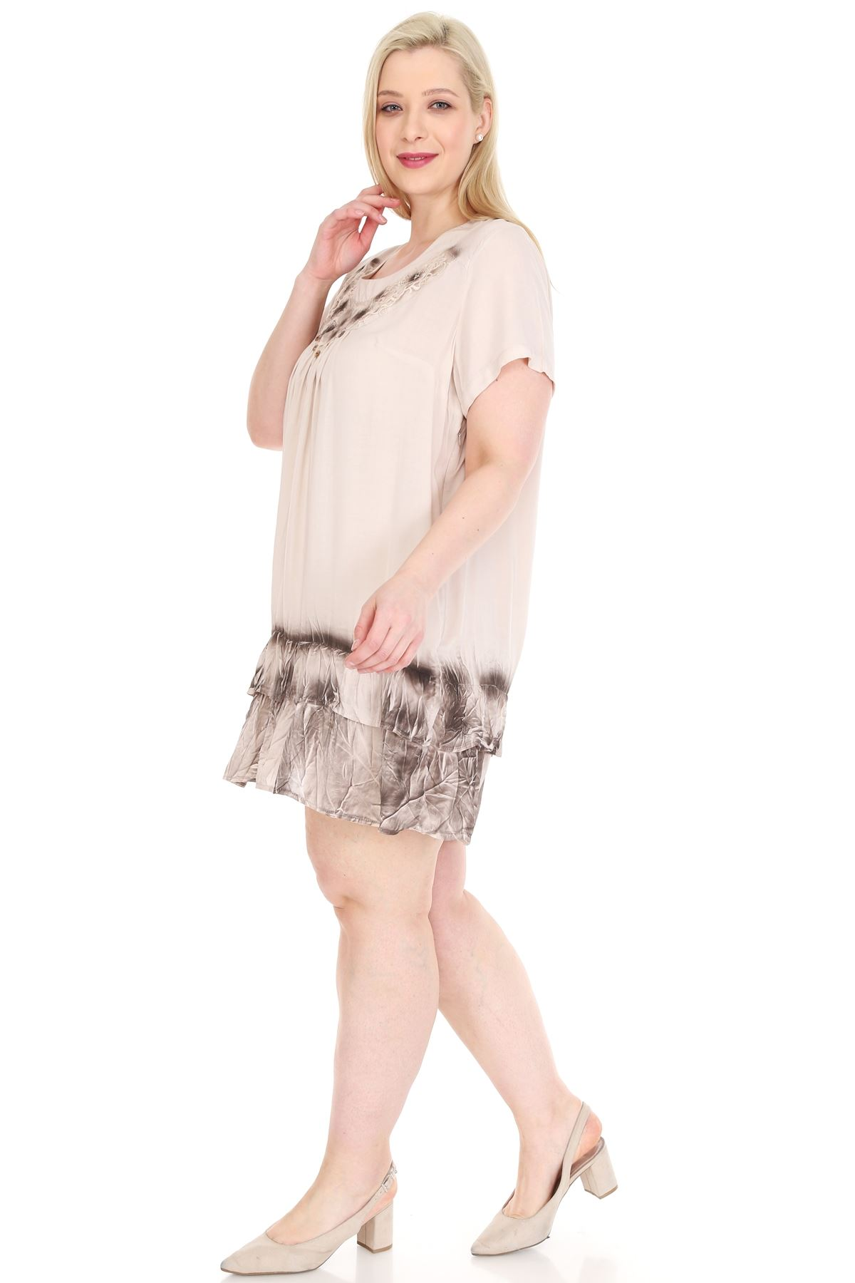 Bej Gipürlü Tunik Büyük Beden Elbise 20Y-0925