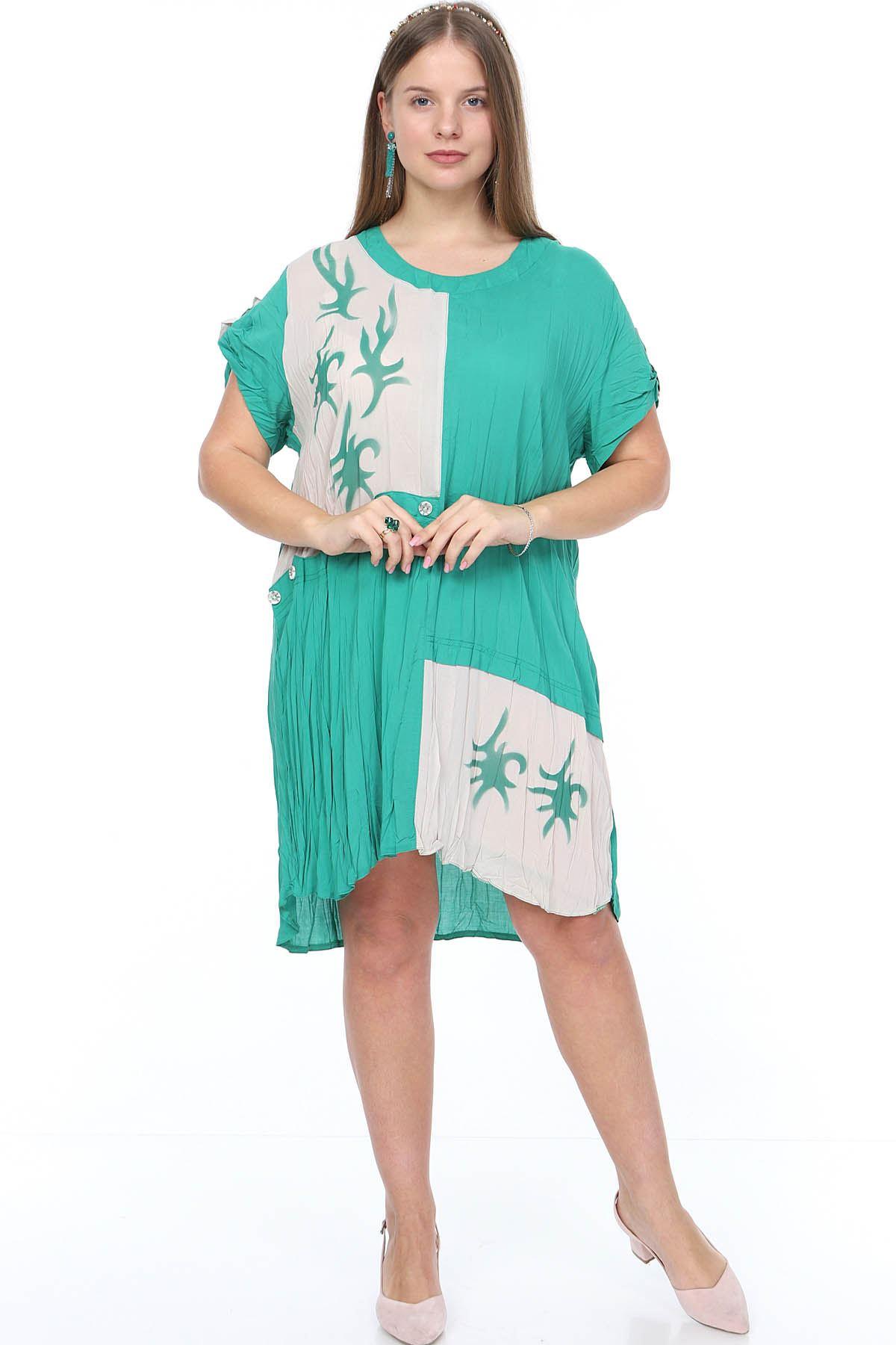 Bej Yeşil  Baskılı Büyük Beden Elbise 15E-0887