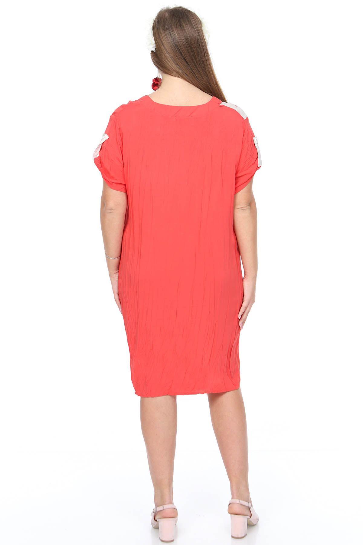 Bej Mercan Baskılı Büyük Beden Elbise 15E-0888