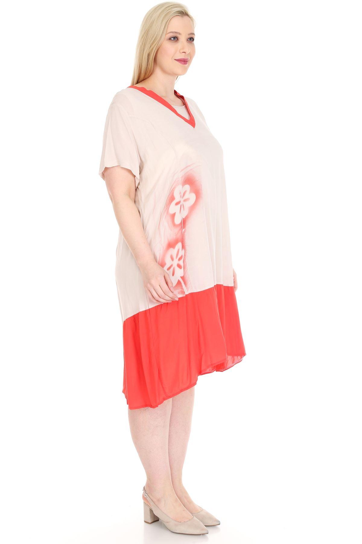 Mercan Bej Baskılı Büyük Beden Elbise 22C-0931