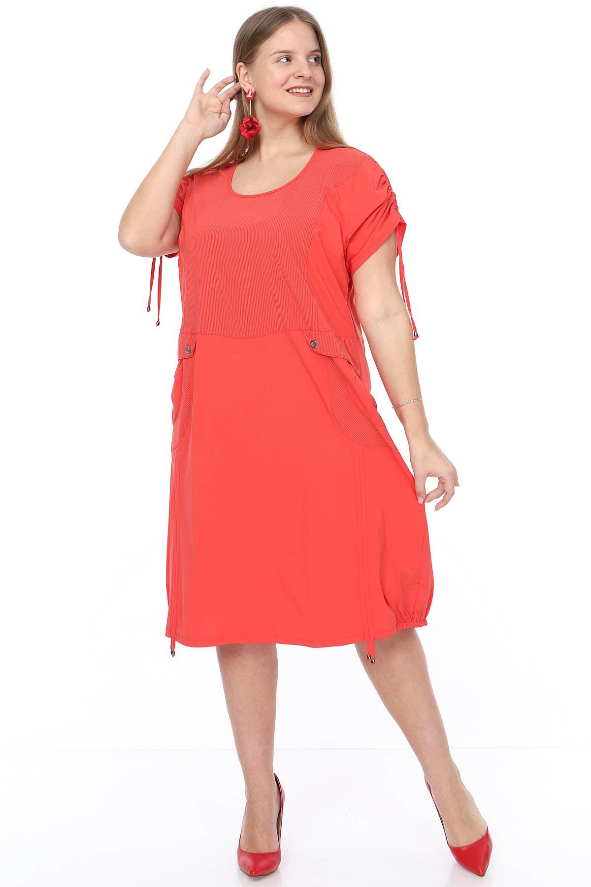 Bağcıklı Cepli Mercan Büyük Beden Elbise 4F-0905