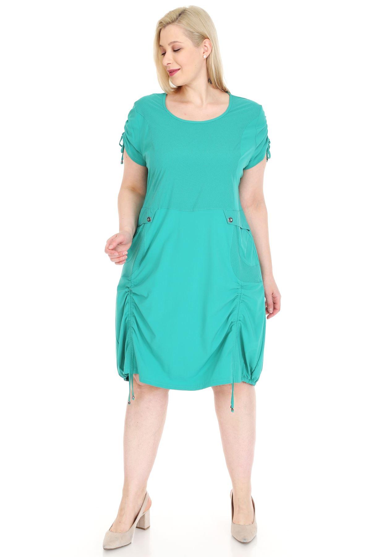 Bağcıklı Cepli Yeşil Büyük Beden Elbise 18E-0921